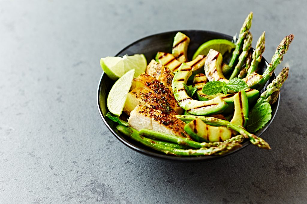 Grille Chicken Salad with Grilled Asparagus and Avocado